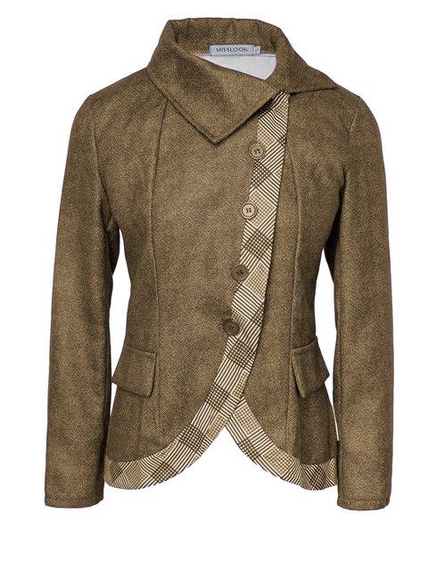 Plus size thick warm side button Cotton Buttoned Vintage Outerwear