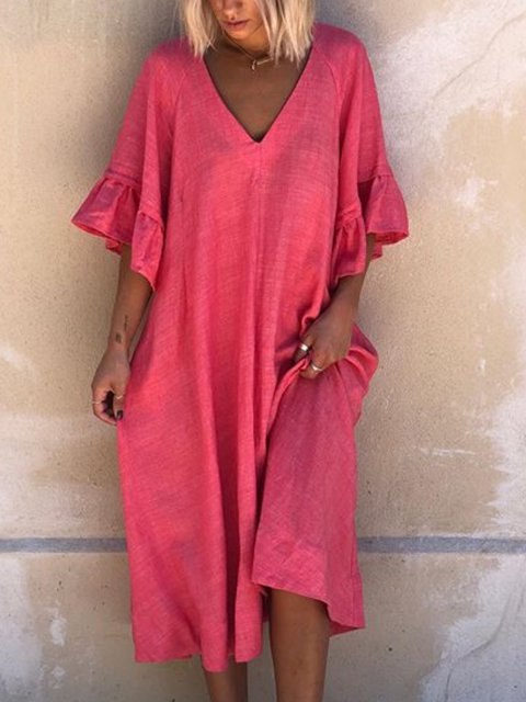Rose Solid Simple V Neck Linen Dresses