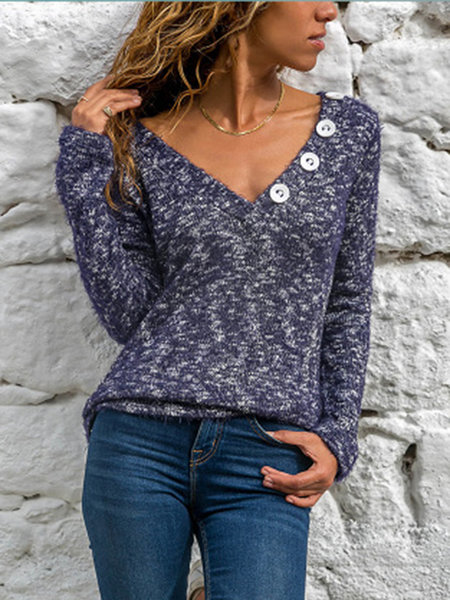 Women V Neck T-shirts Solid Buttoned T-Shirts