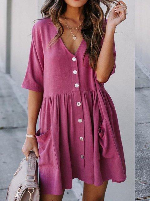 Rose Red Half Sleeve V Neck Dresses