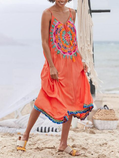 Orange V Neck Cotton-Blend Casual Pants