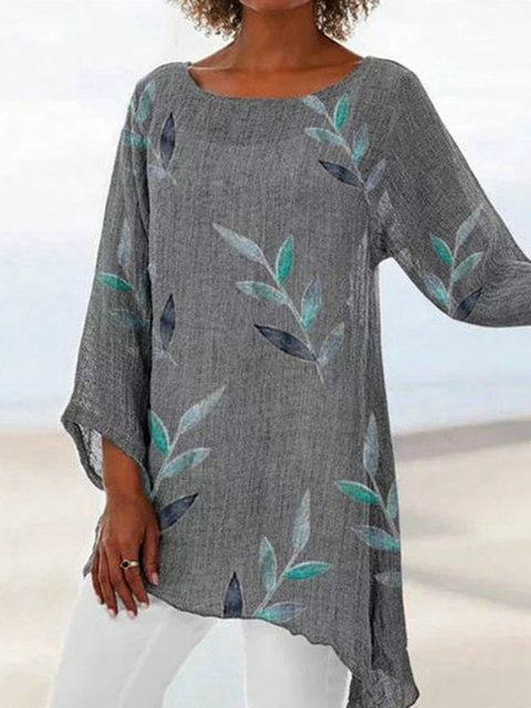 Crew Neck Printed Boho Shirts & Tops