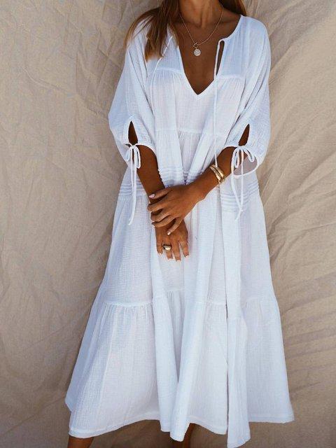 White Cotton-Blend Casual Dresses