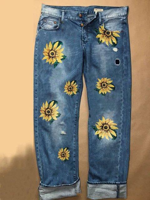 Casual Denim Printed Pants
