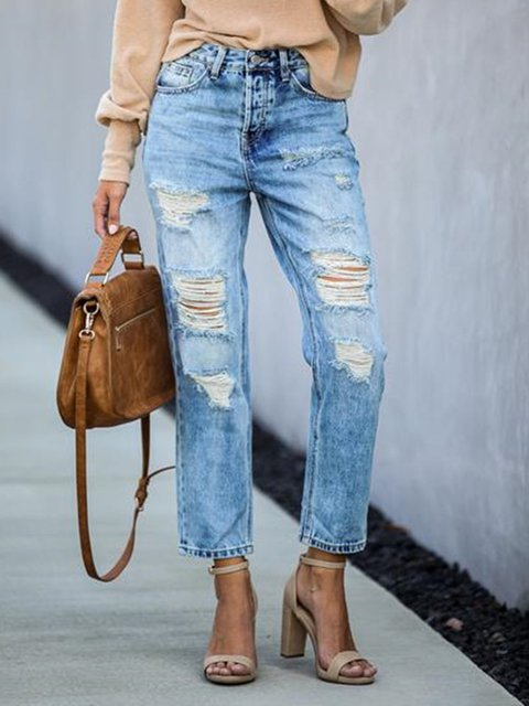 Plain Denim Casual Ripped Pants
