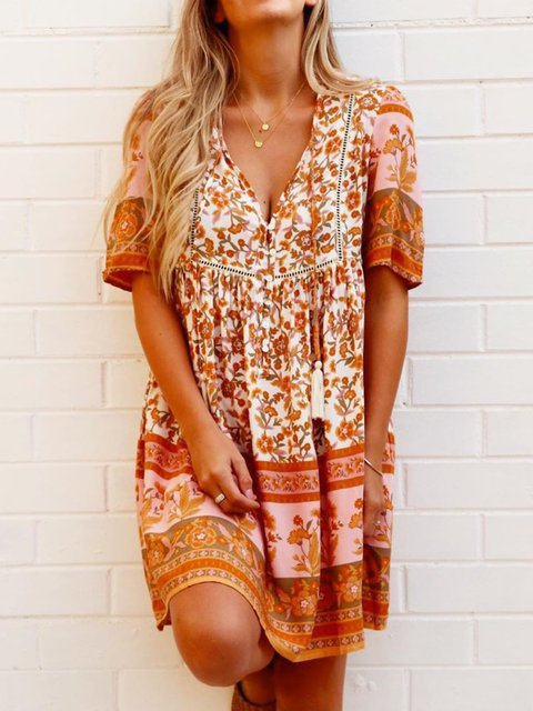 Multicolor Short Sleeve Casual V Neck Dresses