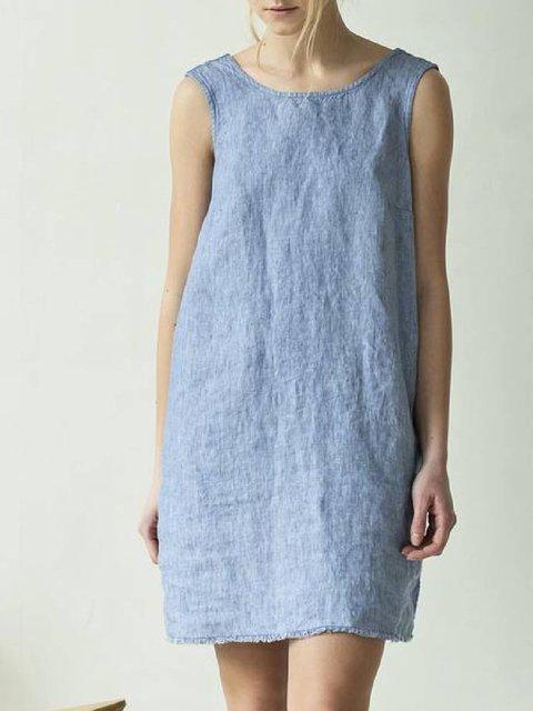 Blue Cotton-Blend Crew Neck Simple Dresses