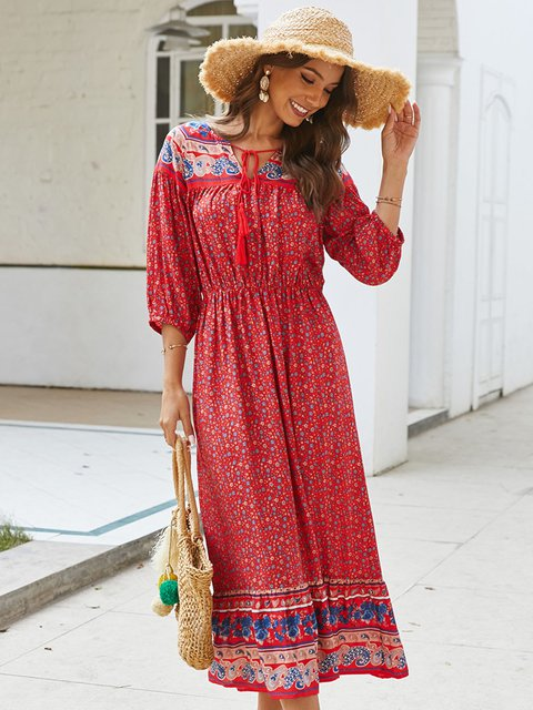 3/4 Sleeve Boho V Neck Dresses