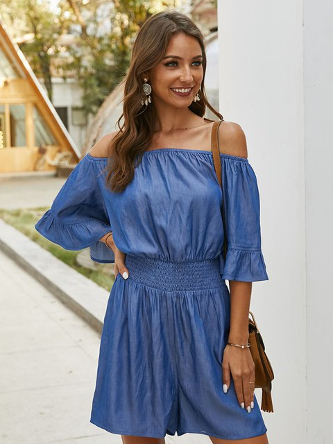 Blue Solid Casual One-Pieces