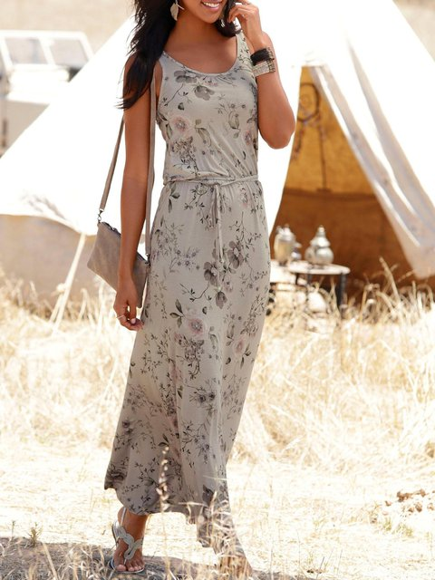 Casual Sleeveless  Printed Maxi Dresses