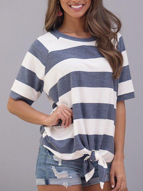 Short Sleeve Crew Neck Stripes Cotton-Blend Shirts & Tops