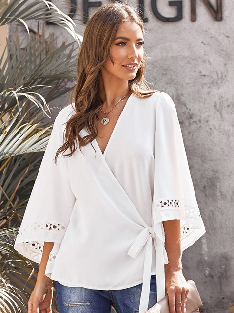 Casual Shift Surplice Neck Shirts & Tops