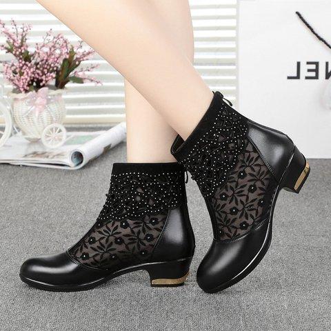 Rhinestone Mesh Chunky Heel Elegant Boots