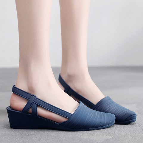 Women Round Toe Slide Pu Casual Summer Sandals
