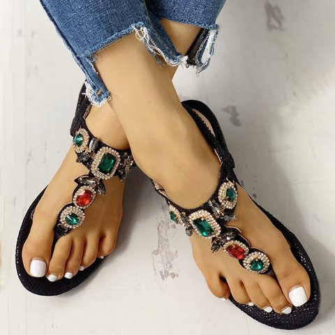 Women Summer Daily Rhinestone Flat Sandals