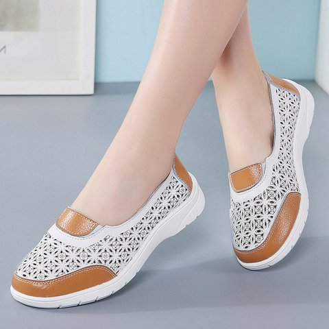 Women Round Toe Casual Hollow-Out Pu Flats