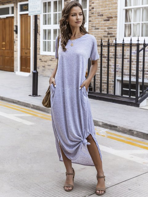 Gray Paneled V Neck Shift Short Sleeve Dresses