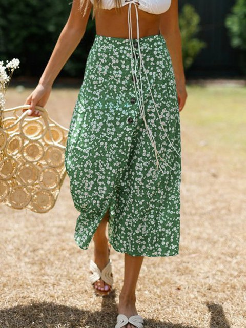 Idyllic Printed Button High Waist Mid-length Skirt