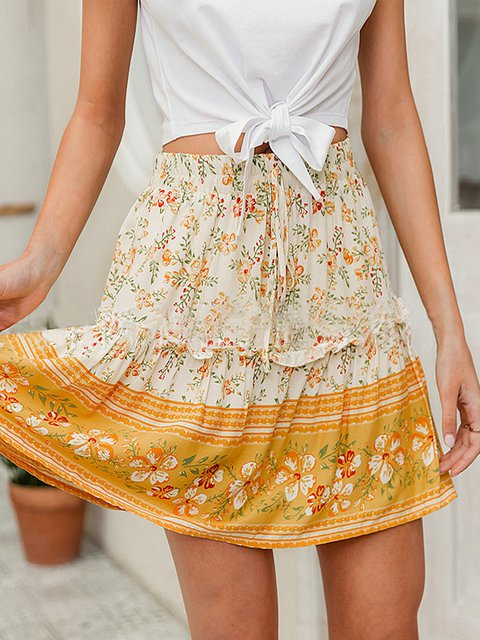 Floral Casual Pleated Lace Up High Waist A-line Skirt