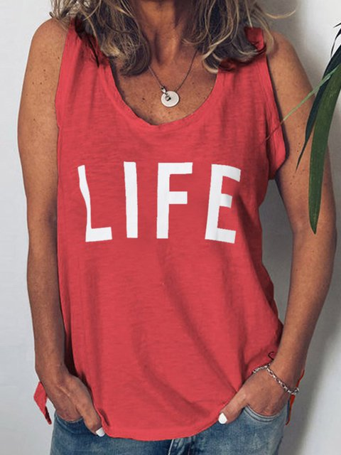 Sleeveless Cotton Letter V Neck Tops