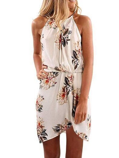Plus Size Floral Holiday Sleeveless Dresses