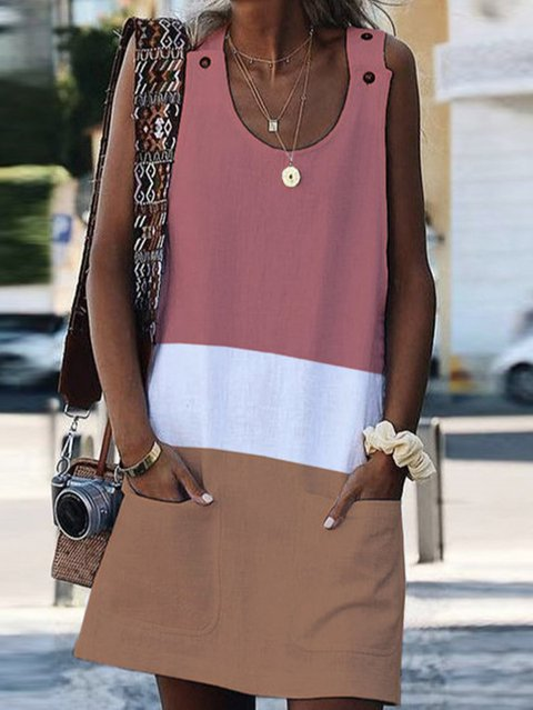 Cotton Sleeveless A-Line Color-Block Dresses