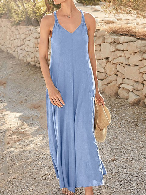 Spaghetti-Strap Cotton V Neck Plain Dresses