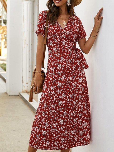 Surplice Neck Printed Short Sleeve Floral Dresses