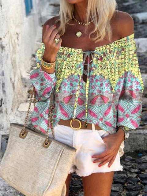 Multicolor Off Shoulder Printed Cotton-Blend 3/4 Sleeve Shirts & Tops