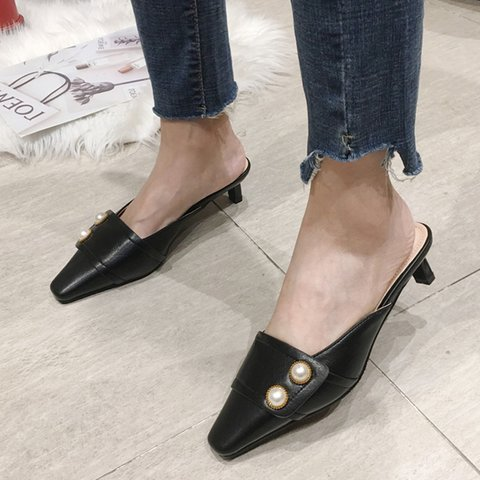 Imitation Pearls Chunky Heel Elegant Slippers