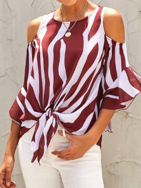 Casual Stripes Shift Off Shoulder Shirts & Tops