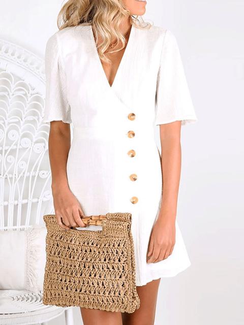 Solid Casual V Neck Short Sleeve Dresses
