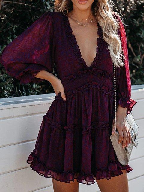 Purple Solid V Neck Balloon Sleeve Dresses
