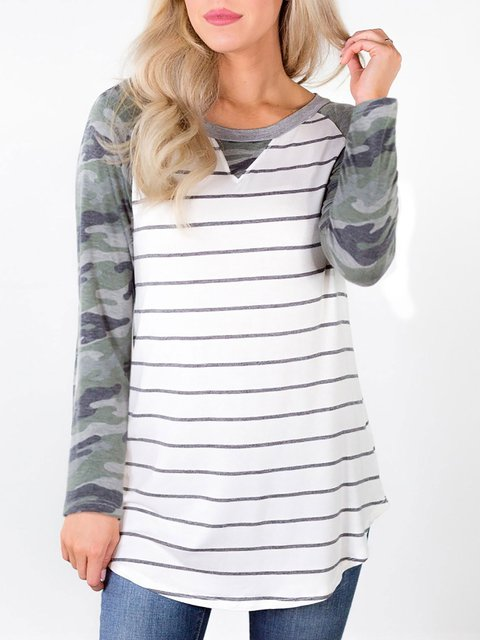 White Striped Cotton-Blend Long Sleeve Printed Shirts & Tops