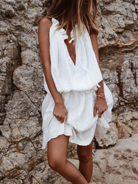White A-Line Sleeveless V Neck Cotton Dresses