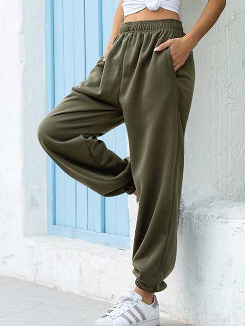 Cotton-blend Pockets Plain Pants