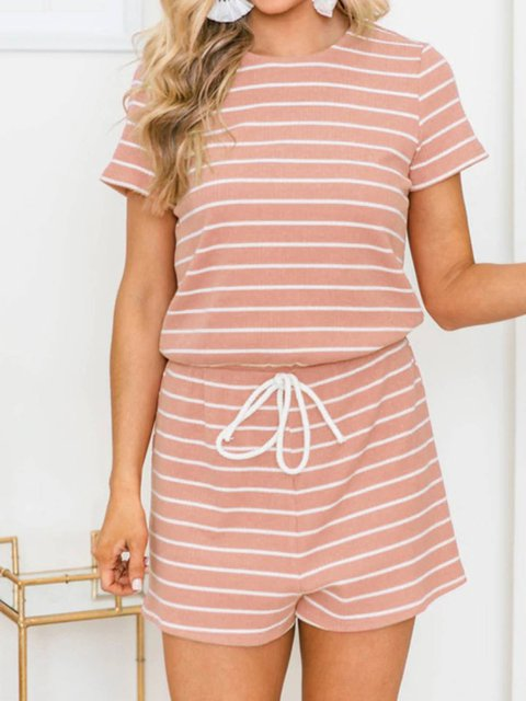 Drawstring Short Sleeve Stripes Cotton-blend One-Pieces