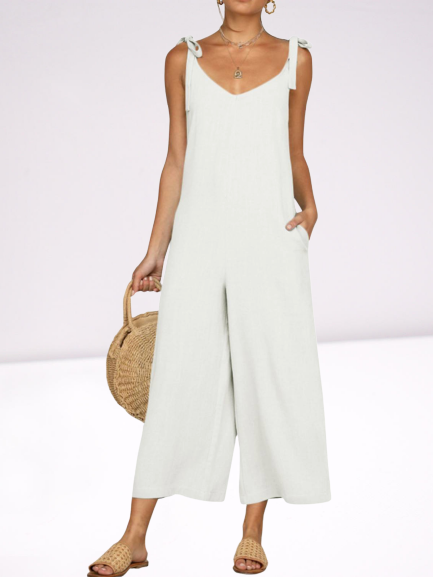 Cotton-Blend Sleeveless Plain Pockets One-Pieces