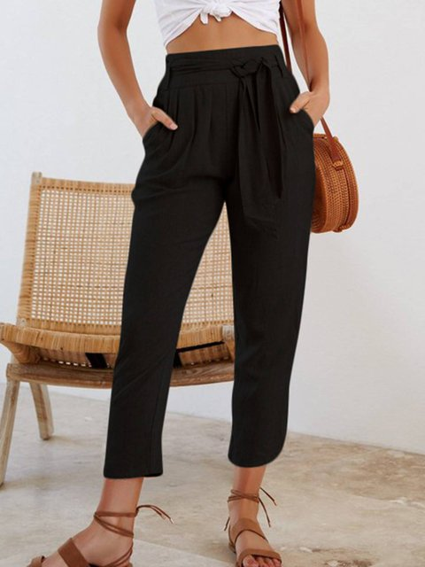 Cotton-Blend Ruched Pockets Pants With Belt