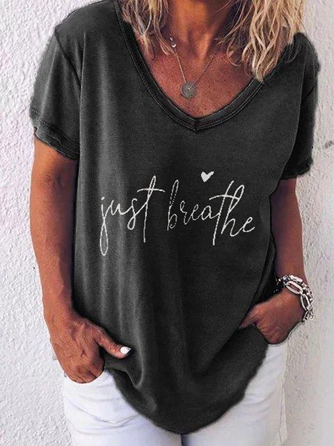 Black Short Sleeve Letter V Neck Shirts & Tops