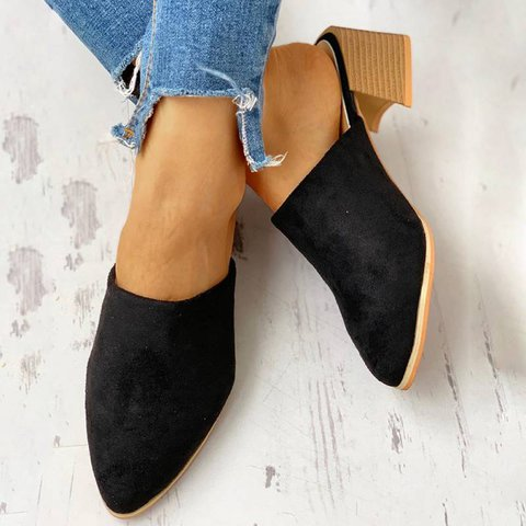 Women Casual Daily Comfy Low Heel Slip On Sandals