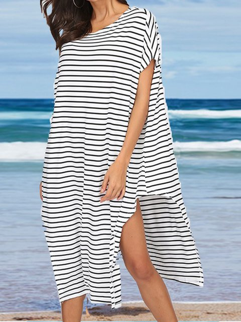 Casual Plus Size Striped Round Neck Short Sleeve Dresses