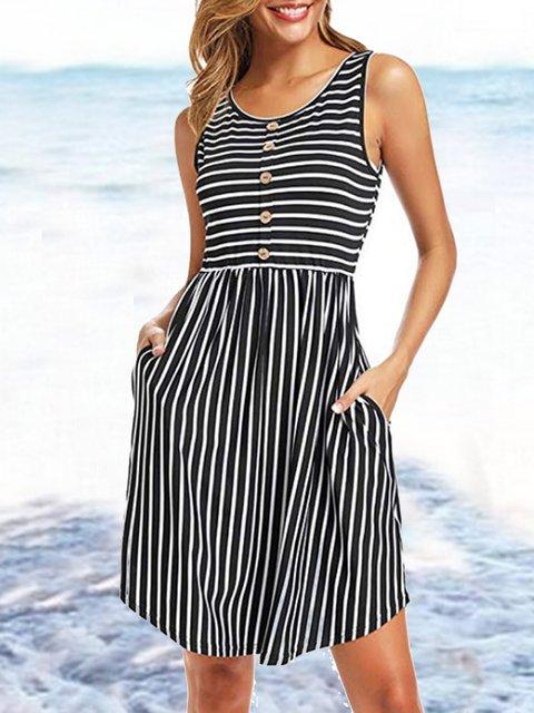 Plus Size Cotton-Blend Crew Neck Stripes Sleeveless Dresses