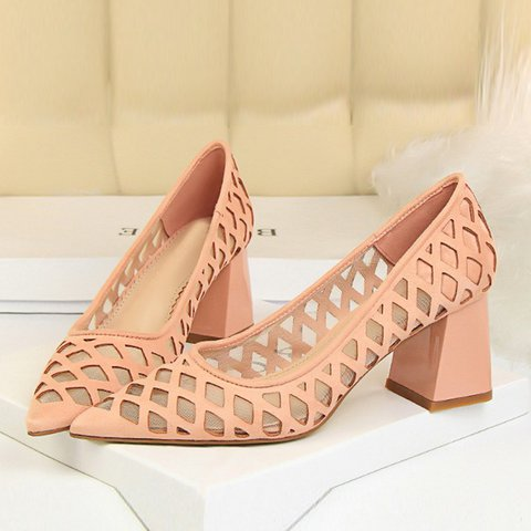 Chunky Heel Mesh Hollow-Out Elegant Pumps