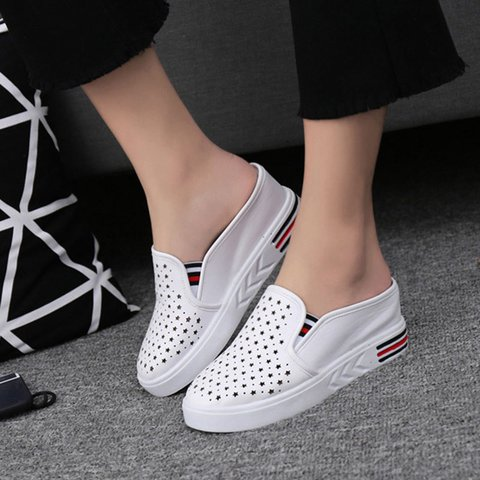 Pi Clue Hollow-Out Summer Artificial Leather Slippers