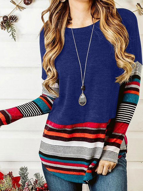Striped Color-Block Long Sleeve Casual T-Shirts