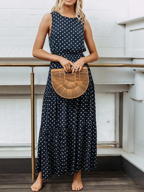 Polka Dots Sleeveless Casual Dresses