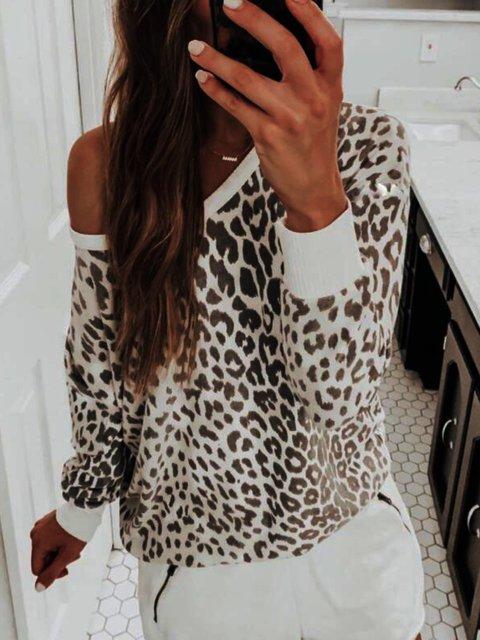 Casual Leopard Print Shift Shirts & Tops