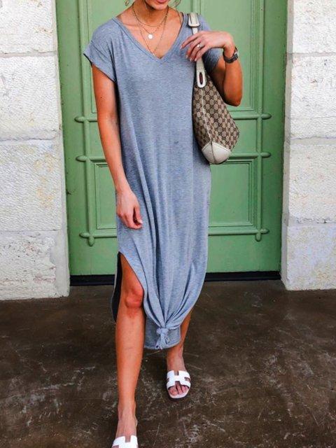 Casual Plain Shift Cotton-Blend Dresses