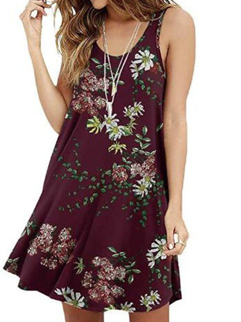 Printed Sleeveless Round Neck Cotton-Blend Dresses